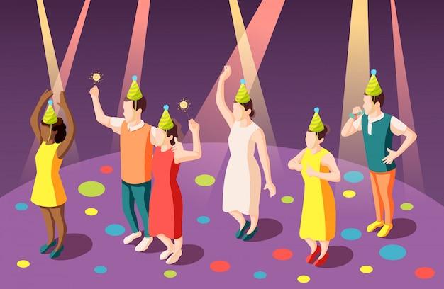 Composizione isometrica nella festa di compleanno con la gente divertente in cappelli da pagliaccio nell'illustrazione dei riflettori