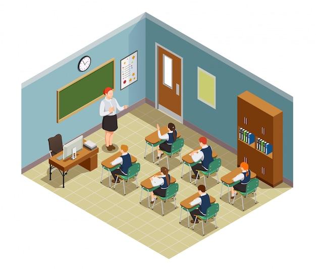 Composizione isometrica nella gente della high school con l'interno dell'aula e i caratteri dell'illustrazione femminile degli studenti e dell'insegnante