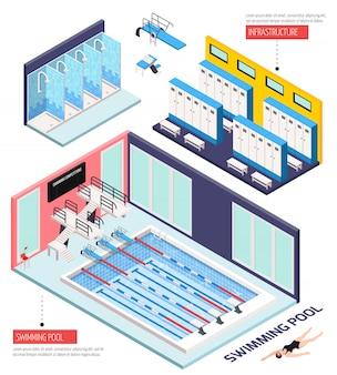 Composizione isometrica nella piscina con infrastruttura, illustrazione isolata di vettore