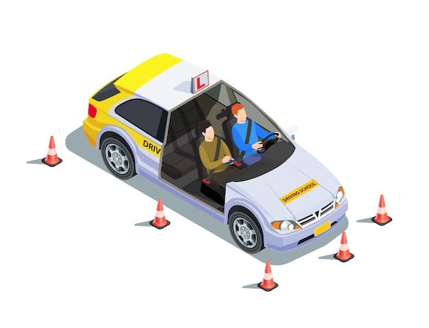 Composizione isometrica nella scuola guida con le immagini dell'istruttore e del discente in automobile circondata dall'illustrazione dei coni di sicurezza