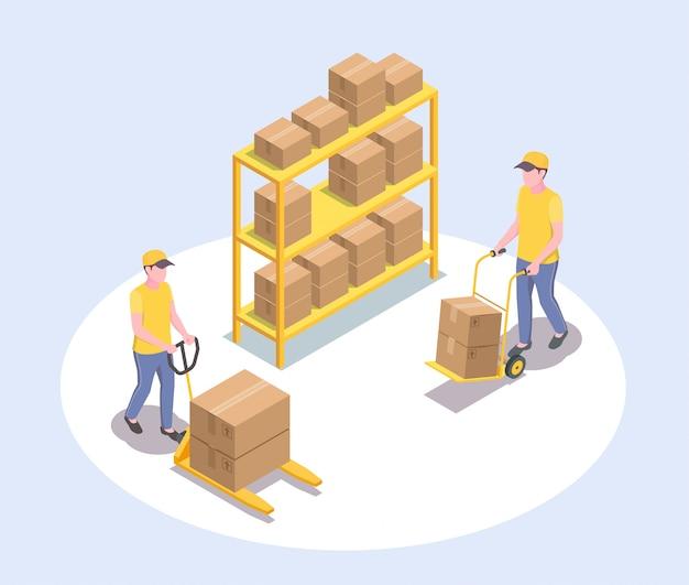 Composizione isometrica nella spedizione della logistica di consegna con i caratteri umani senza volto di due lavoratori maschii e dell'illustrazione dello scaffale del pacco