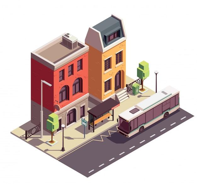 Composizione isometrica nelle costruzioni della casa a schiera con la fermata dell'autobus all'aperto del punto di riferimento e due case di abitazione sulla via della città