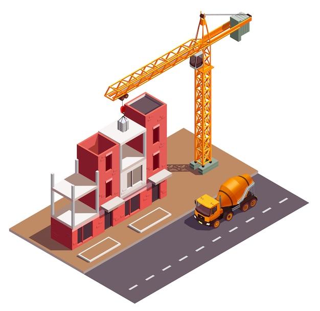 Composizione isometrica nelle costruzioni della casa a schiera con la vista della gru del cantiere e della casa di abitazione residenziale in costruzione