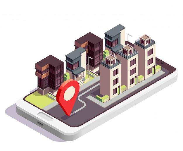 Composizione isometrica nelle costruzioni di casa a schiera con paesaggio moderno dell'isolato con il gruppo di case e il segno di posizione
