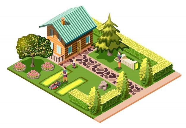 Composizione isometrica paesaggistica con casa residenziale e manutenzione del giardino che falcia il prato cura delle piante
