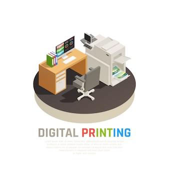 Composizione isometrica rotonda nello scrittorio del progettista dell'attrezzatura dello schermo del laser del getto di inchiostro del software dell'ufficio della casa di stampa digitale contemporanea
