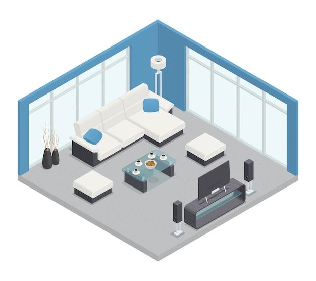 Composizione isometrica sala da pranzo con tavolo divano tv e lampada