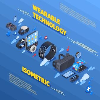 Composizione isometrica tecnologia indossabile