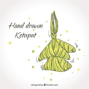Composizione ketupat disegnata a mano tradizionale