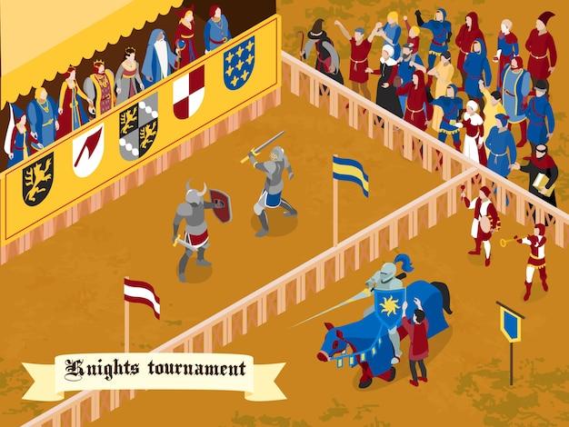 Composizione medievale colorata e isometrica con titolo torneo cavalieri su nastro bianco