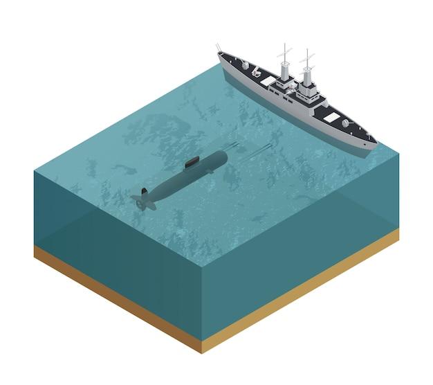 Composizione militare isometrica delle barche 3d con il pezzo di mare tagliato con un sottomarino e un'illustrazione di vettore della barca