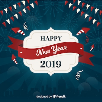 Composizione moderna del nuovo anno 2019 con design piatto