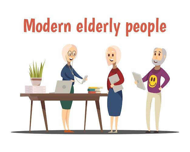Composizione moderna di persone anziane