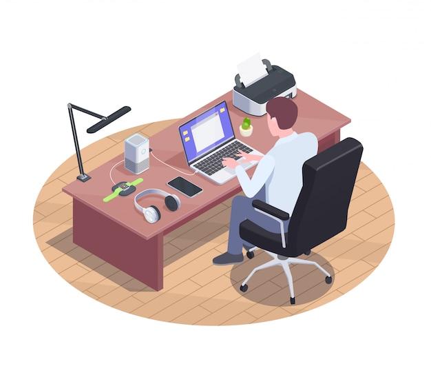 Composizione moderna nei dispositivi con l'immagine isometrica del posto di lavoro moderno con i lotti degli aggeggi astuti sull'illustrazione della tavola