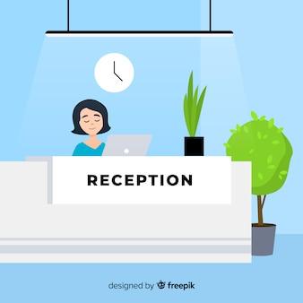 Composizione moderna reception con design piatto