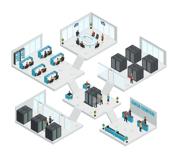 Composizione multistore di sei sale per data center isometriche