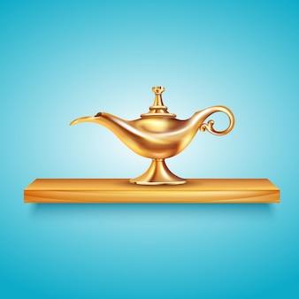 Composizione negli scaffali della lampada di aladdin con l'immagine ingombranti della nave dorata sullo scaffale di legno sull'illustrazione blu di vettore del fondo