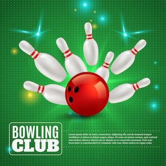 Composizione nel club di bowling 3d che colpisce palla sui perni su verde con l'illustrazione delle scintille e dei flash