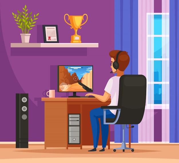 Composizione nel fumetto del personaggio di gioco di cybersport con la cuffia avricolare da portare del giovane davanti al desktop computer
