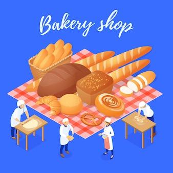 Composizione nel negozio del forno con i prodotti e il personale della farina durante l'illustrazione isometrica di vettore del lavoro