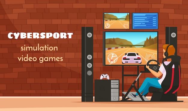 Composizione nel personaggio del giovane del fumetto di cybersport con l'adolescente che gioca il video gioco realistico del simulatore di guida di veicoli