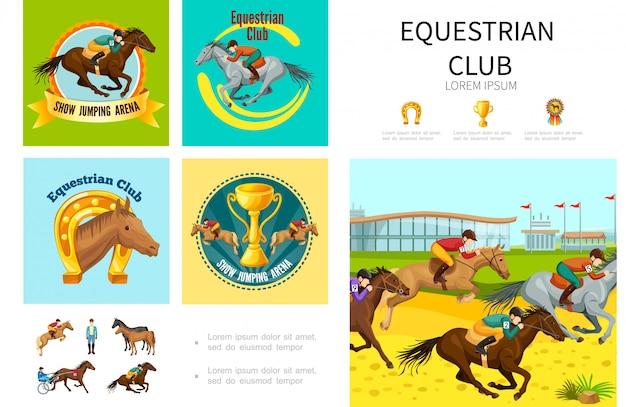 Composizione nello sport equestre del fumetto con il salto che corre e che prepara i cavalli con la medaglia della tazza a ferro di cavallo dei fantini