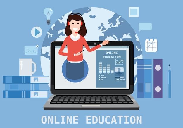 Composizione online nelle icone di webinar di istruzione con le donne dell'istruttore della vettura dell'insegnante sul computer portatile
