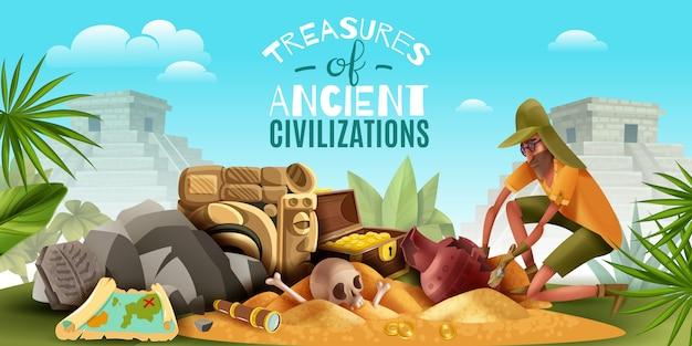 Composizione orizzontale in archeologia con testo ornato e paesaggi all'aperto con archeologo che scava un terreno pieno di manufatti