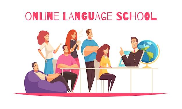 Composizione orizzontale nel fumetto piano della scuola di lingue online con i membri globali della comunità che preparano il fondo di bianco della compressa dell'insegnante