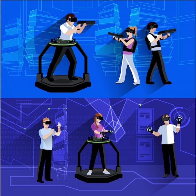 Composizione orizzontale virtuale e aumentata del fondo di realtà con la gente immersa nell'illustrazione di vettore isolata estratto simulato del mondo