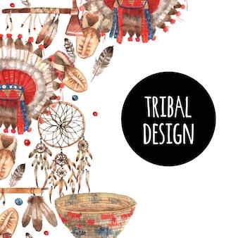 Composizione ornamentale degli oggetti simbolici nativi americani