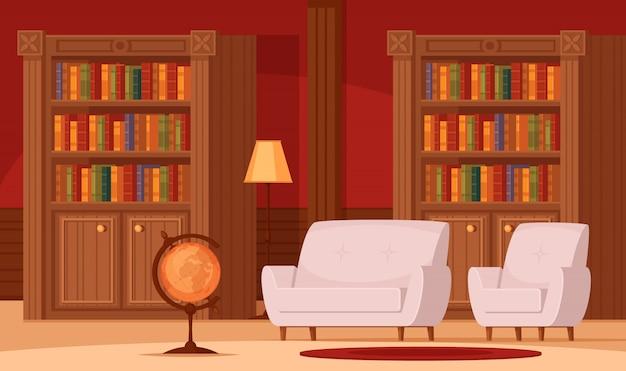 Composizione ortogonale piana interna della biblioteca tradizionale con il tappeto comodo dei divani della lampada a globo terrestre degli scaffali per libri