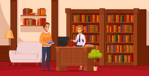 Composizione ortogonale piatta in biblioteca con bibliotecario che assiste il lettore al banco di servizio davanti agli scaffali