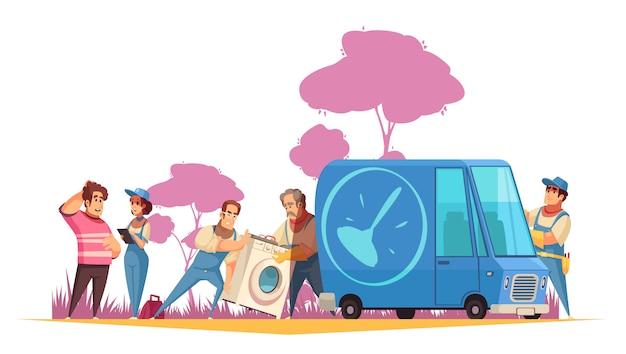 Composizione piana con gli idraulici che trasportano lavatrice al centro di servizio per l'illustrazione del fumetto di riparazione