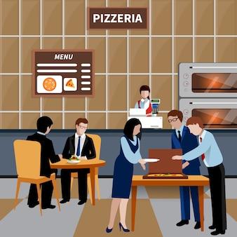 Composizione piana della gente del pranzo di lavoro