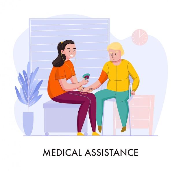 Composizione piana in aiuto volontario domestico di assistenza medica della scuola materna con la giovane signora sorridente che alimenta l'illustrazione di vettore della persona anziana