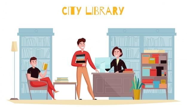 Composizione piana interna nella biblioteca di stile tradizionale con il bibliotecario consultantesi dei libri di lettura dei clienti contro l'illustrazione degli scaffali per libri