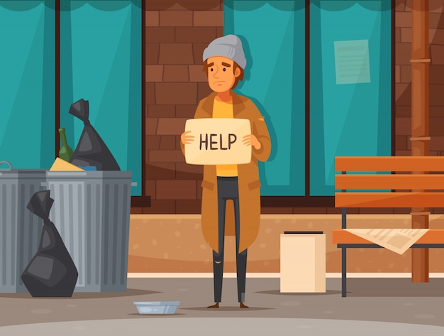 Composizione piana nel fumetto dei senzatetto con l'uomo che elemosina la via in autunno