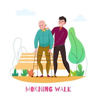 Composizione piana nell'assistenza anziana quotidiana domestica della scuola materna con la passeggiata disabile di mattina dell'uomo anziano con l'illustrazione volontaria di vettore
