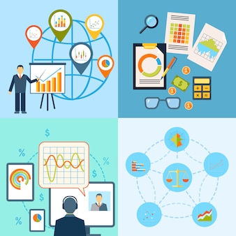 Composizione piana nell'icona di statistiche di progresso di crescita del grafico di affari isolata.