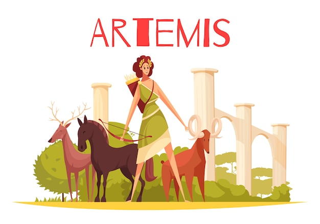 Composizione piana nella dea greca con i personaggi dei cartoni animati di artemis che tengono arco e gruppo di illustrazione degli animali
