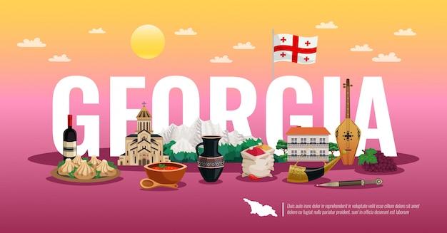 Composizione piana orizzontale in viaggio di georgia con il gradiente di colore dei punti di riferimento dell'alimento della bandiera nazionale bello