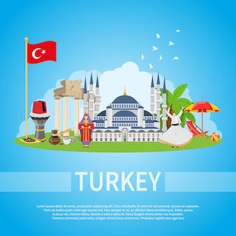 Composizione piatta della turchia