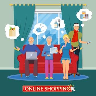 Composizione piatta per lo shopping online