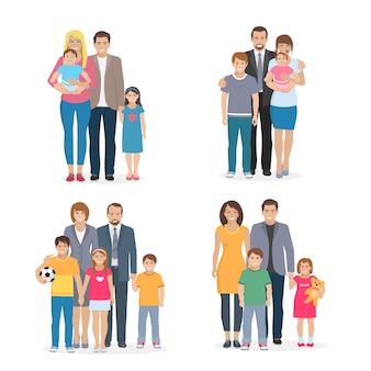 Composizione piatta raffigurante grande famiglia felice