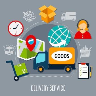 Composizione piatta servizio di consegna