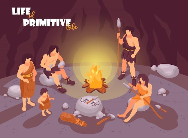 Composizione primitiva isometrica nel cavernicolo della gente con il falò di paesaggio della caverna e caratteri umani dell'illustrazione dei membri della famiglia della tribù