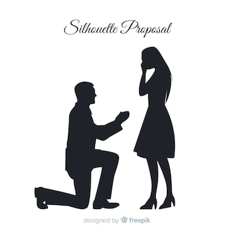 Composizione proposta matrimonio con stile silhouette