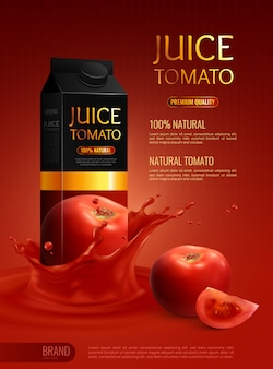 Composizione pubblicitaria con pacchetto di succo di pomodoro naturale realistico