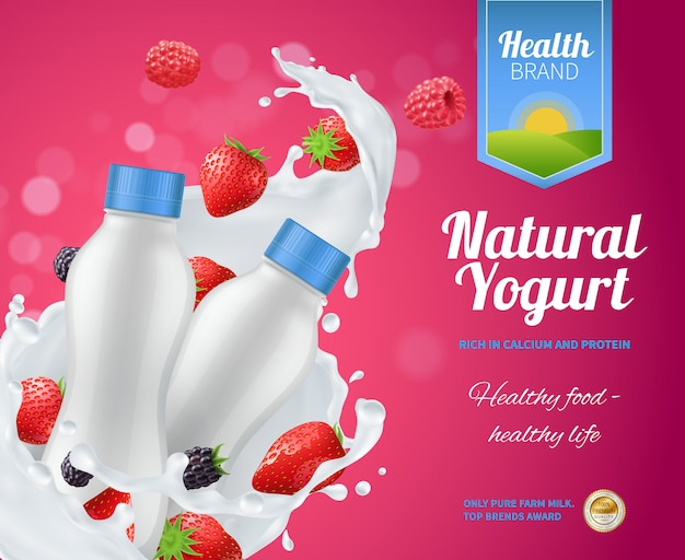Composizione pubblicitaria di yogurt ai frutti di bosco con yogurt naturale